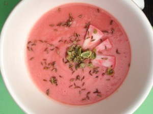 Celeriac and Beetroot soup