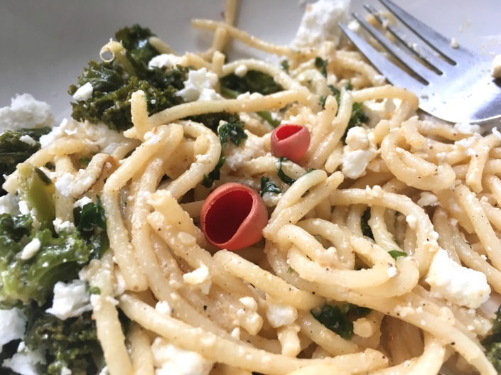 Kale with spaghetti and red elfcup mushrooms