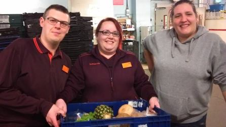 Ben, Claire and Sarah from Sainsbury Colchester Avenue Cardiff helping with our food surplus collection