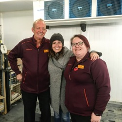 Mike (sainsbury's), Lia (Lia's Kitchen) and Claire (SAinsbury's) during a surplus food collection