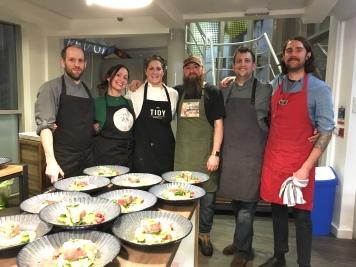 From left to righ: Lee (Cocorico), Lia (Lia's Kitchen), Laura (Tidy Kitchen Co), Dai (Lia's Kitchen/Green City Events volunteer), Laurian (Cocorico Patisserie), Dan Barnett (Green City Event)