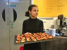 Della from Cafe Sio serving Cocorico canapes