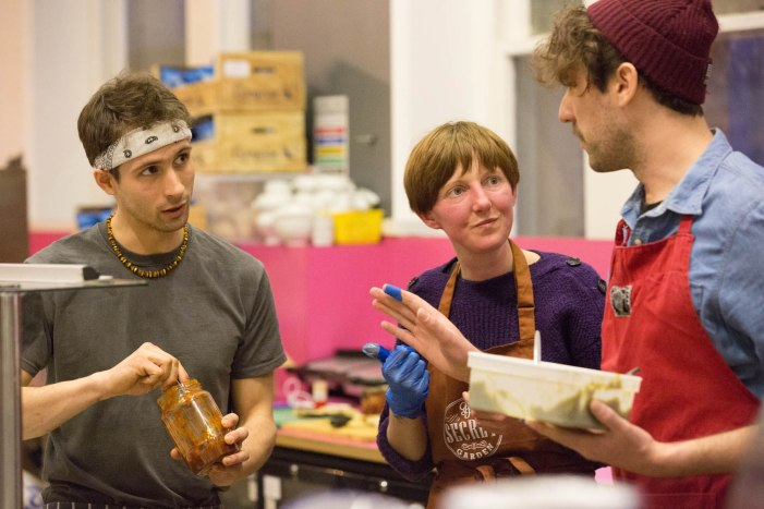 Jan (Anna Loka), Melissa (Penylan Pantry) and Dan (Green City/Lia's Kitchen volunteer)