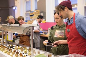 Melissa (Penylan Pantry), Phil (Dusty Knuckle), Lia (Lia's Kitchen) and Dan (Green City/Lia's kitchen volunteer)