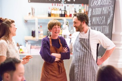Becca (Green City Events), Melissa (Penylan Pantry) and Phil (Dusty Knuckle)